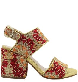 Strategia Strategia Red Embroidered Silk 2 Peice Sandal 1759