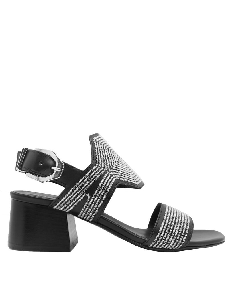 VicMatie VicMatie Black Sandal With Silver Micro Embroidery 5152