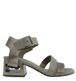 VicMatie VicMatie Army Metallic Block Heel Sandal 5156