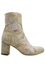 Fauzian Jeunesse FauzianJeunesse Beige Eucalyptus Embroidered Ankle Boot 1454