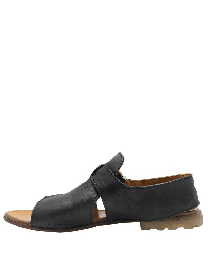 Moma Moma Black Open Toe Flat Comfort Sandal 4271
