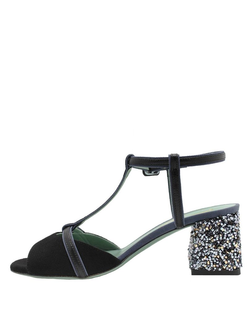 Paola d'Arcano Paola d'Arcano Black T-Strap Curly Metal Heel 1263