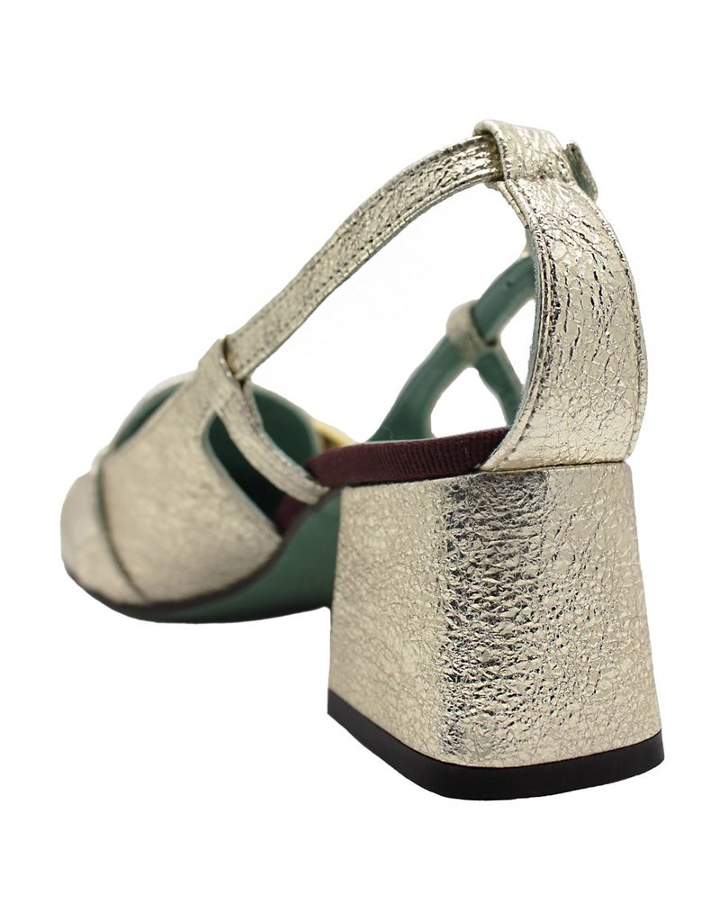 Paola d'Arcano Paola d'Arcano Gold Crinkle Open Side Loafer 1411