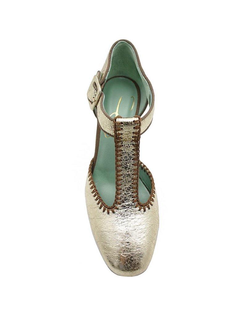 Paola d'Arcano Paola d'Arcano Gold Crinkle/Crochet T-Strap Pump 1617