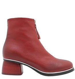 Halmanera Halmanera Red Front Zipper Boot Red Heel Positano
