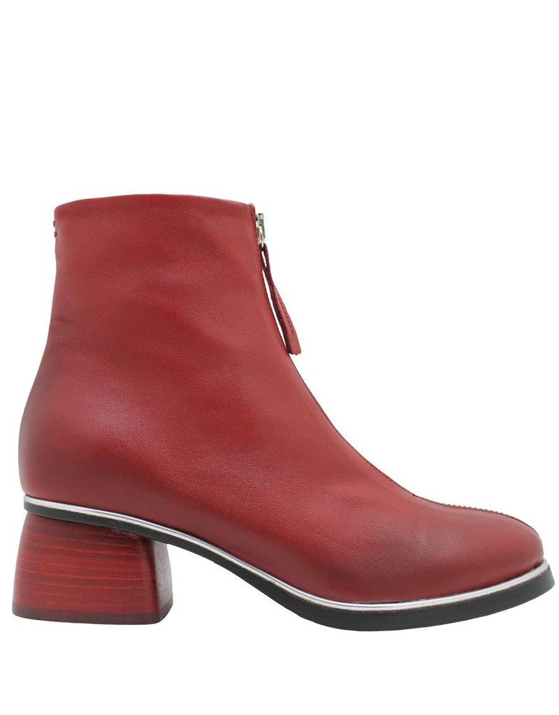 Halmanera Halmanera Red Front Zipper Boot Red Heel Positano