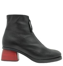 Halmanera Halmanera Black Front Zipper Boot Red Heel Positano