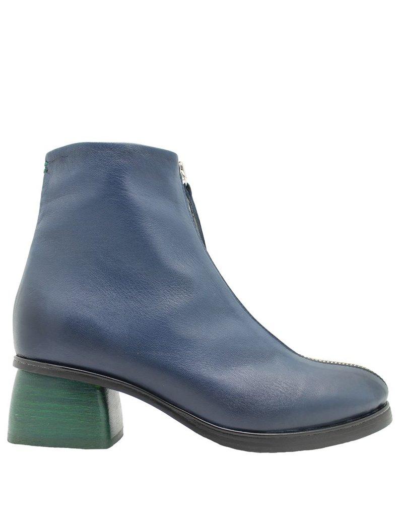 Halmanera Halmanera Blue Front Zipper Boot Green Heel Positano