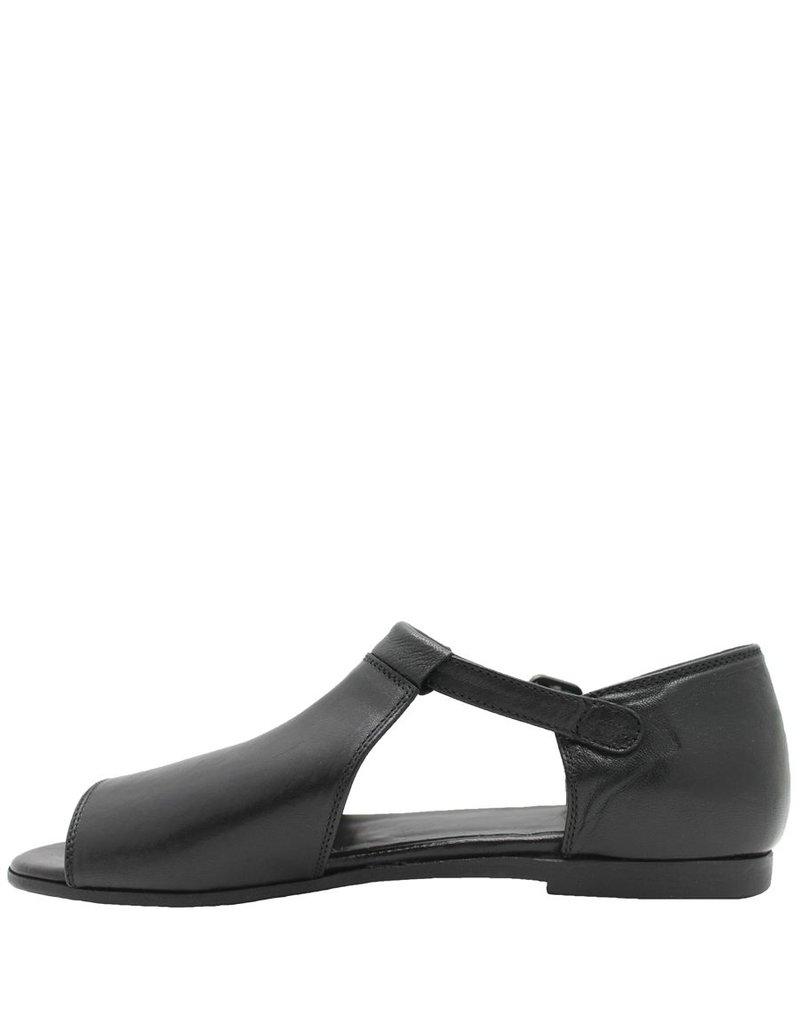 Pantanetti Pantanetti Black Buckled Flat Sandal 9042