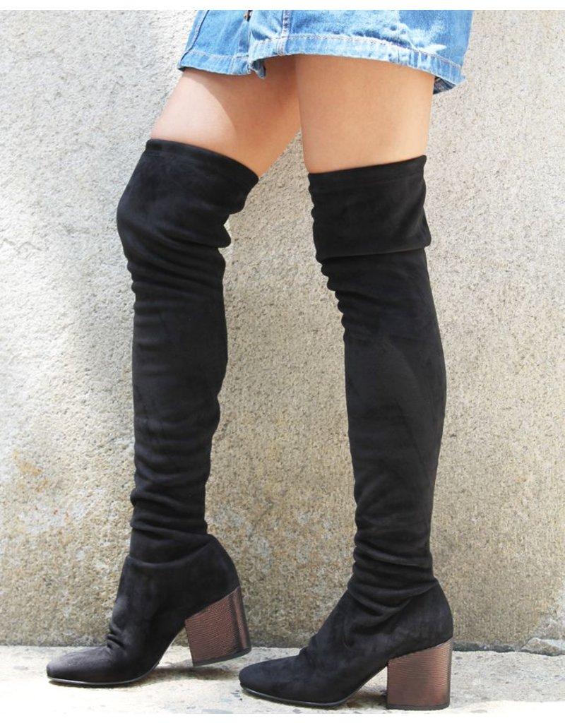 Strategia Strategia  Black Over Knee Boot Metallic Block Heel 3254