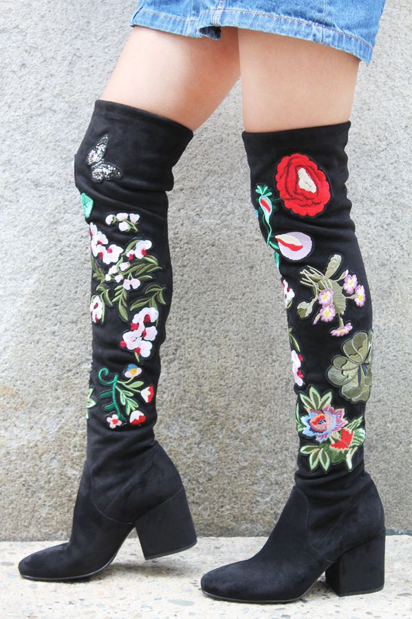 Strategia Strategia Flower Embroidered Over the Knee Boots 3347