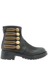 Strategia Strategia Black Ankle Boot With Gold Military Embroidery 3388