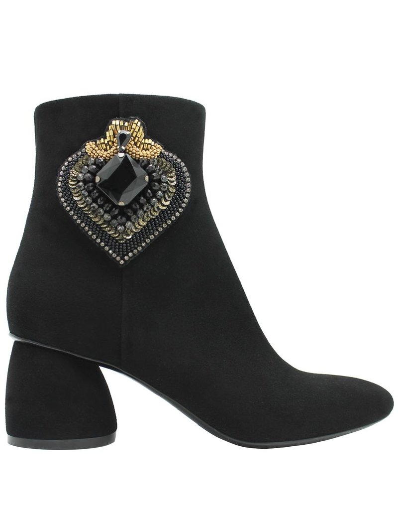 Strategia Strategia Black Suede Ankle Boot With Jeweled Black Heart 3469