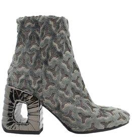 Elena Iachi ElenaIachi Fumo Grey Velvet Block Heel Boot 1264