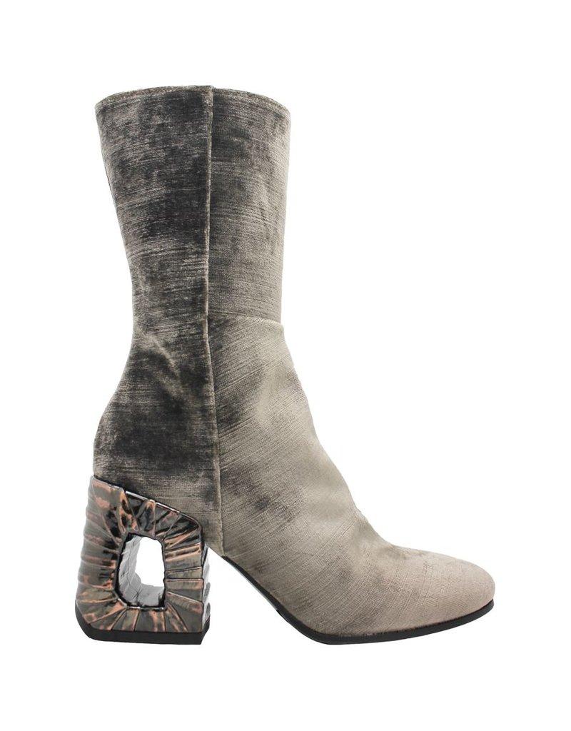 Elena Iachi ElenaIachi Taupe Velvet Midcalf Boot 1267