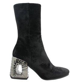 Elena Iachi ElenaIachi Black Velvet Midcalf Boot 1267