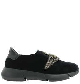 Elena Iachi ElenaIachi Black Velvet Tennis Shoe With Wing Emblem 1318
