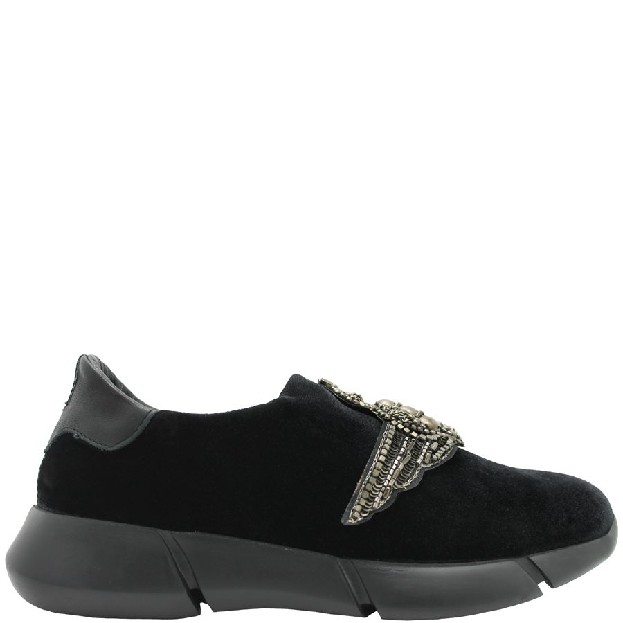 Elena Iachi ElenaIachi Black Velvet Tennis Shoe With Wing Emblem 1318