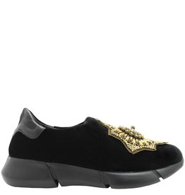 Elena Iachi ElenaIachi  Black Velvet Tennis Shoe With Star Medallion 1319