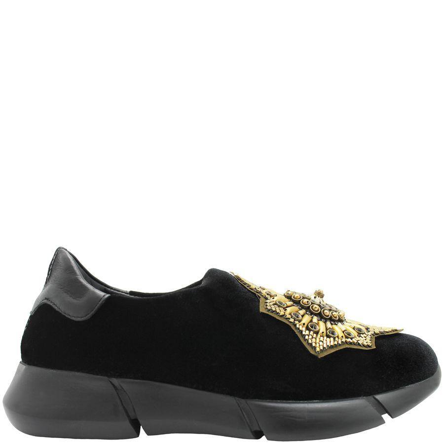 Elena Iachi ElenaIachi  Black Velvet Tennis Shoe With Star Medallion 1319