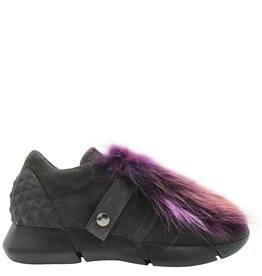 Elena Iachi ElenaIachi Purple Multi Fur/ Grey Suede Tennis Shoe 1321