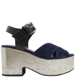 Strategia Strategia Blue Suede With Silver Platform 1789