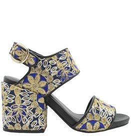 Strategia Strategia Blue Emboidered Silk 2 Peice Sandal 1759