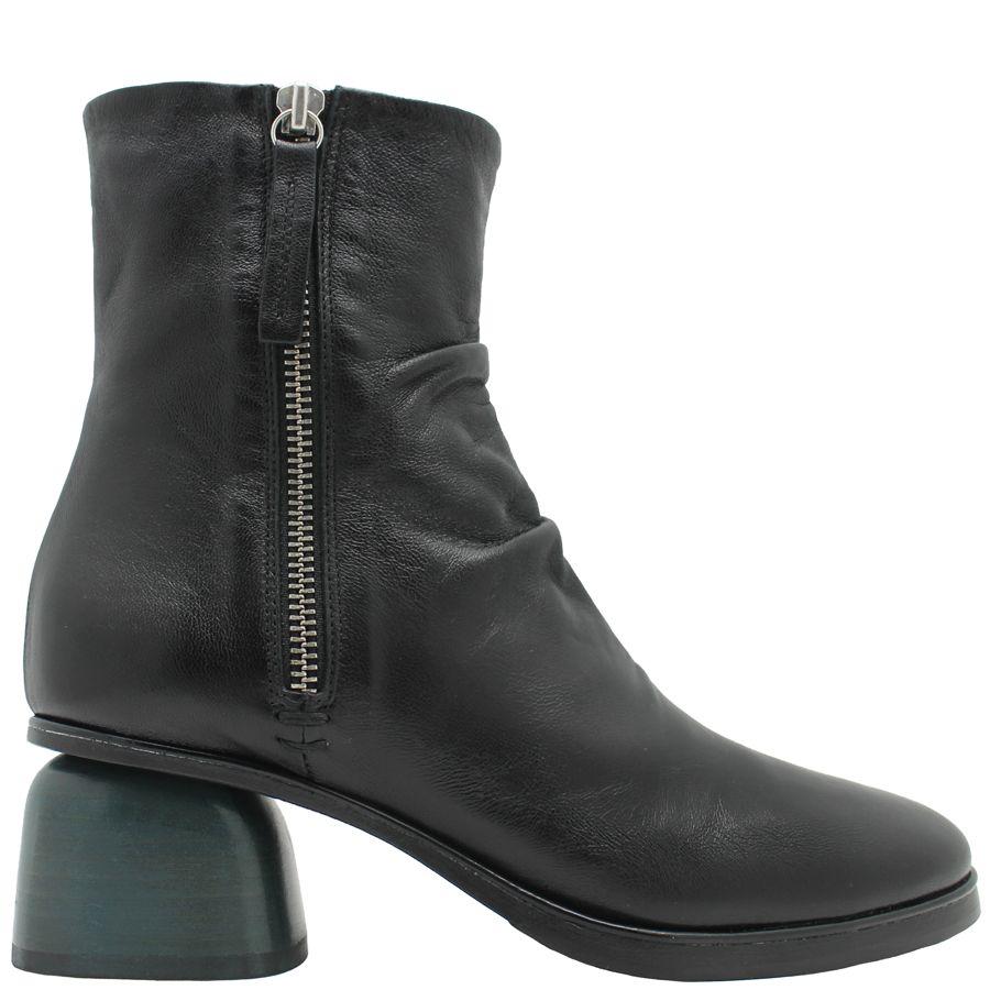Halmanera Halmanera Black 2-Zipper Green Low Heel Boot Brooks