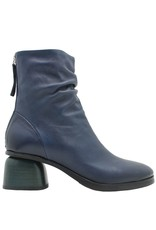 Halmanera Halmanera Blue Ruched Back Zip Green Heel Curry