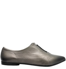 Halmanera Halmanera Metallic Front Zipper Point Toe Shoe Foles