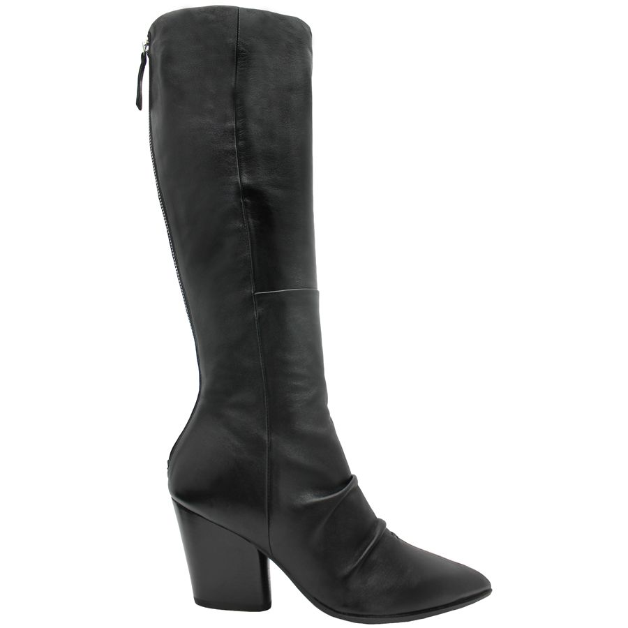 Halmanera Halmanera Black Point Toe Back Zipper Knee Boot Sproles