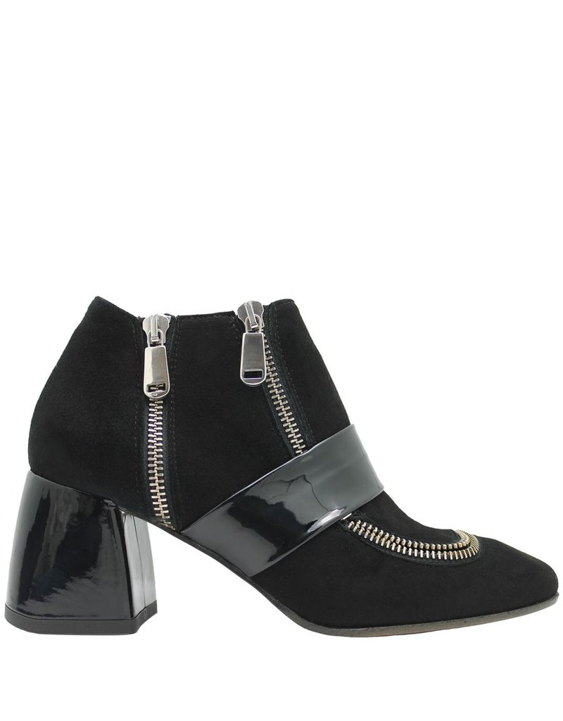 Ixos Ixos Black Suede With Patent Band Zipper Detail 1015