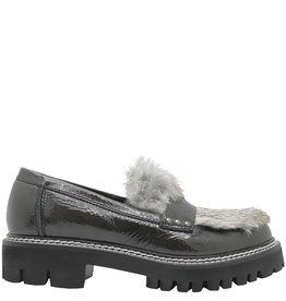 Now Now Grey Anthracite Patent Loafer Fur Plug 3930