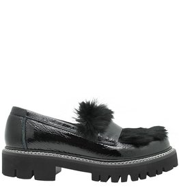 Now Now Black Patent Loafer Fur Plug 3930