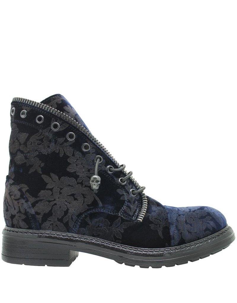 Now Now Blue Velvet Ankle Boot Zipper Detail 3995