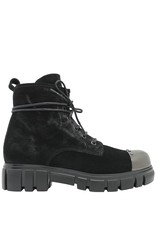 Now Now Black Suede Lace-Up Metal Toe Cap 4203
