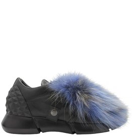 Elena Iachi ElenaIachi Blue Multi Fur/ Grey Suede Tennis Shoe 1323