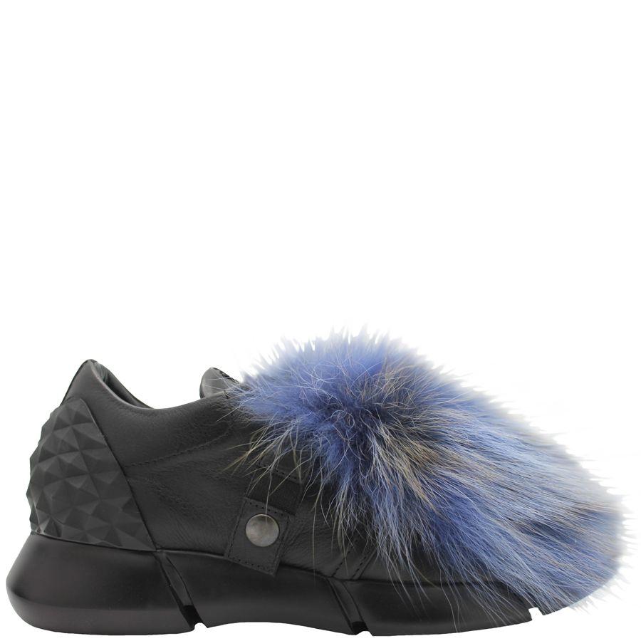 Elena Iachi ElenaIachi Blue Multi Fur/ Grey Suede Tennis Shoe 1323