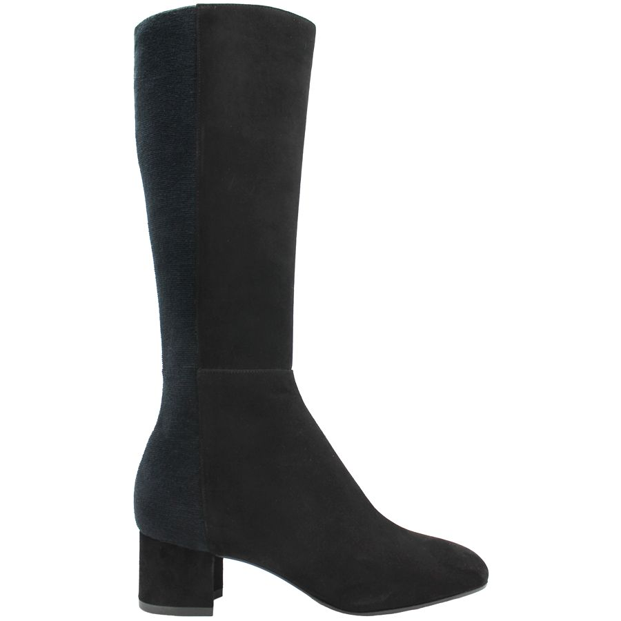 Aquatalia Aquatalia Black Suede Knee Boots With Stretch Back Jules
