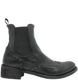 Officine Creative OfficineCreative Black Chelsea Wing-Tip with Silver Stitch Flaco