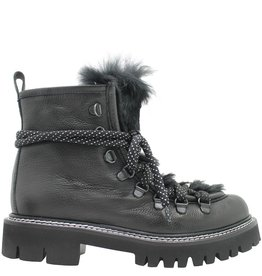 Now Now Black Leather Hiking Boot With Black Fur 3923