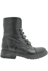 Now Now Black Moto Boot With Chain and Side Zipper 3976