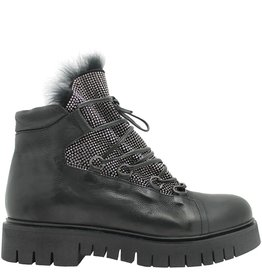 Now Now Black Studded Hiking Boot with Fur 4182