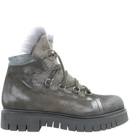 Now Now Grey Studded Hiking Boot with Fur 4182
