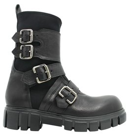 Now Now Black 4 Buckle Moto Boot With Lycra 4206