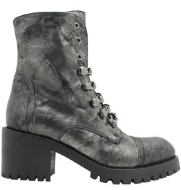 Now Now Gunmetal Chain Link Boot With Side Zipper 4319