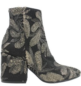 Strategia Strategia Black Mesh Fabric Boot With Gold Embroidered Flower 2832