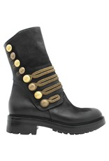 Strategia Strategia Black Military Mid-Calf Boot With Gold Crest Embossed Buttons 3386