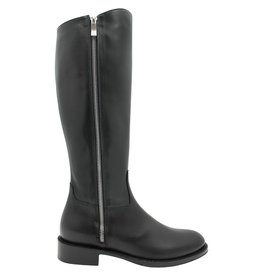 Siton Black Riding Boot With Double Silver Zipper 1140