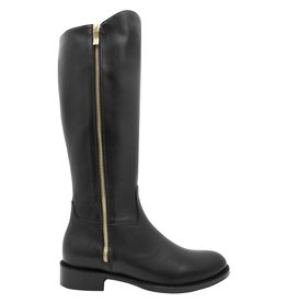 Siton Black Riding Boot With Double Gold Zipper 1140